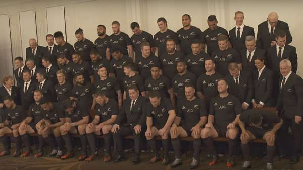 La foto oficial de los All Blacks